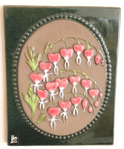 Vintage Sweden Jie Gantofta Wall Plaque M Bleeding Heart 876 Design Aimo | eBay