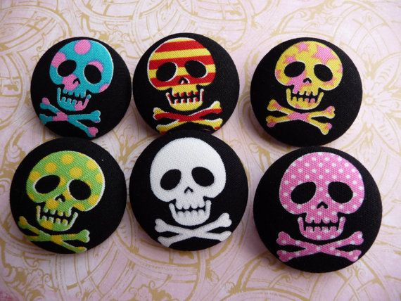 pirate skull crossbones goth big fabric covered buttons