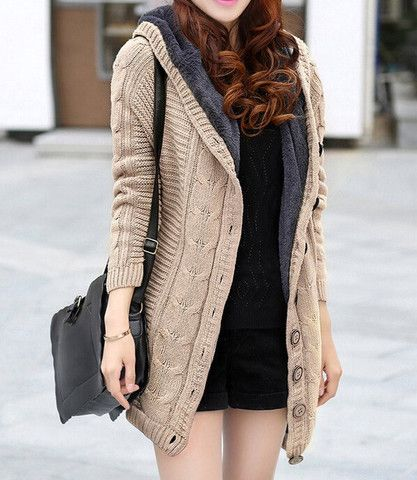 Single Breasted Thickened Fleece Cotton Blend Cardigan – teeteecee - fashion in style