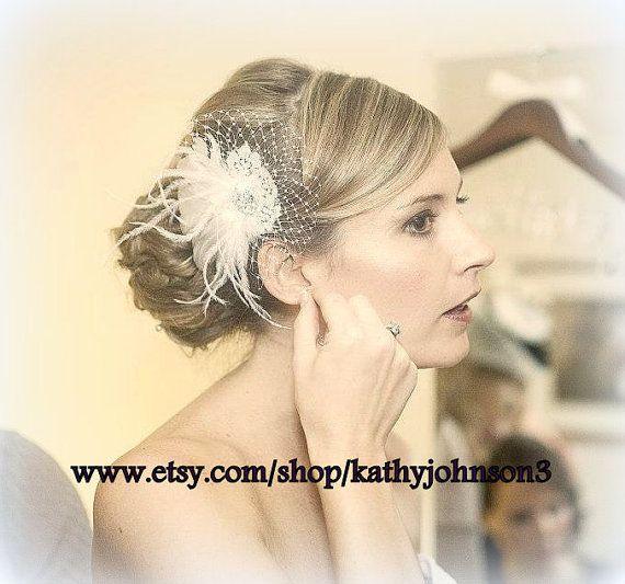 Vintage Style Bridal Hair Fascinator feathers by kathyjohnson3