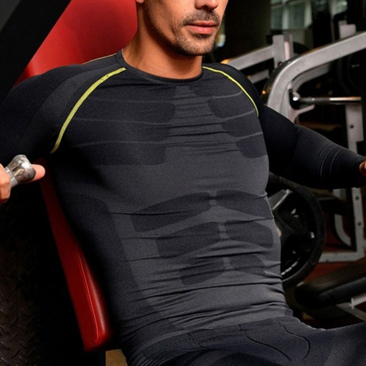 New Men Compression Base Layer Long Sleeve Sports Gear Shirts Fitness GYM Tops M-XL