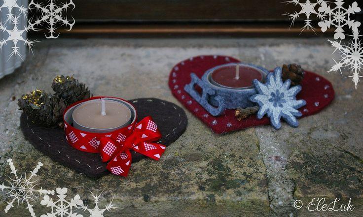 Piccoli porta lumino per far brillare il Natale. #feltro #natale #christmas #handmade #felt #gift