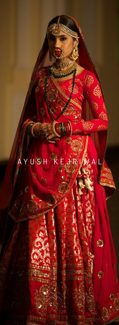 Red vintage Benarsi bridal Lengha by Ayush Kejriwal For purchases email me at designerayushkejriwal@hotmail.com or what's app me on 00447840384707 We ship WORLDWIDE.