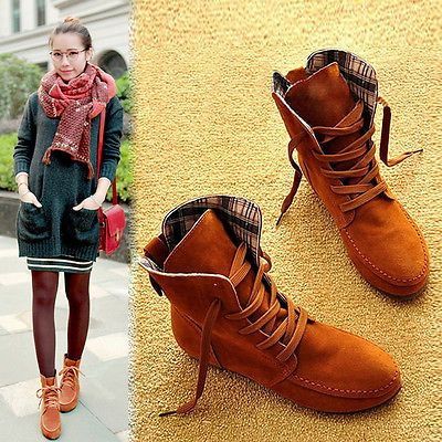 Women's Nubuck Leather Moccasins Ankle Boots Lace-Up High top US Size 5-9 Shoes