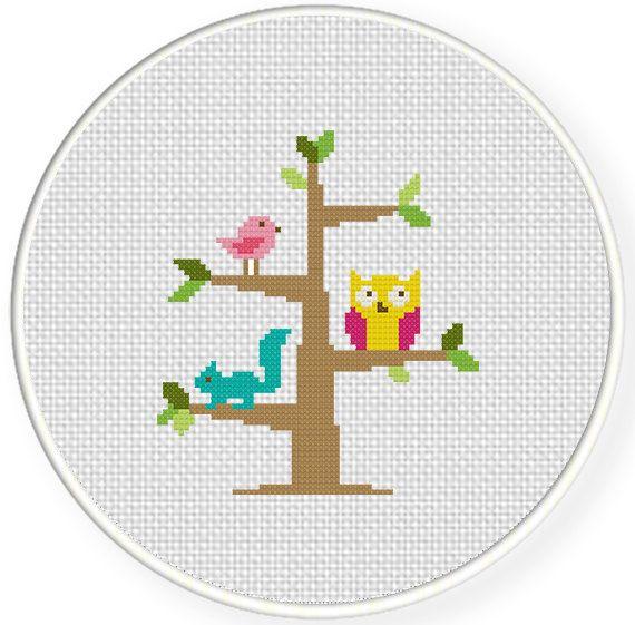 Tree Dwellers PDF Cross Stitch Pattern por DailyCrossStitch en Etsy