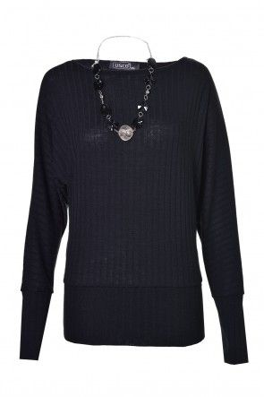 Lonnie Batwing Necklace Top in Black