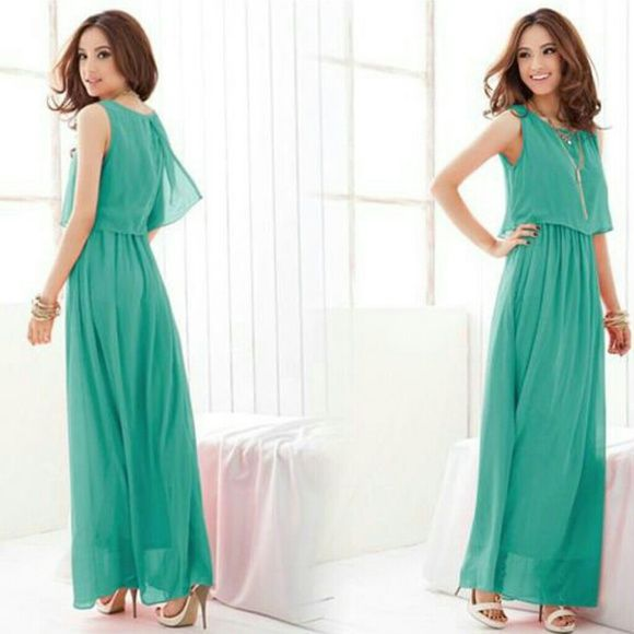 Teal maxi dress Adorable teal chiffon layered maxi dress, brand new. Elastic waist gives the illusion that you're wearing a top and skirt Dresses Maxi