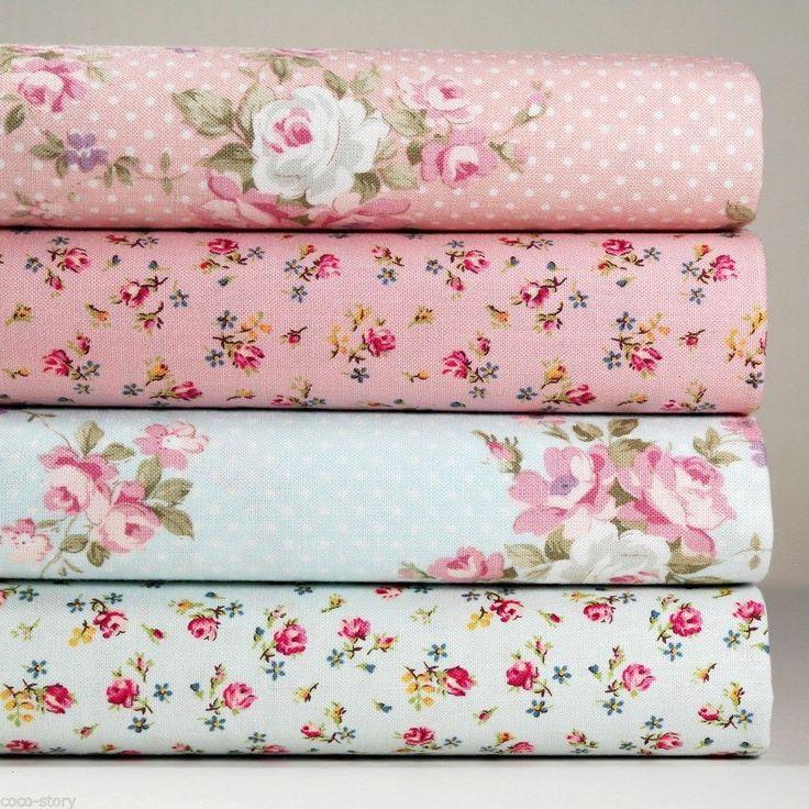 4 Fat Quarters Bundle 100% Cotton Fabric Pink Blue Floral Print Sewing K c-237 #K $9.45