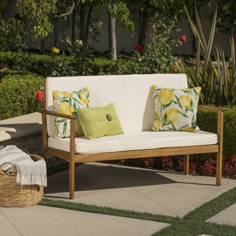Luciano Acacia Wood Bench Brown Cream Christopher Knight Home Outdoor Wood Furniture Teak Patio Furniture Wood Bench
