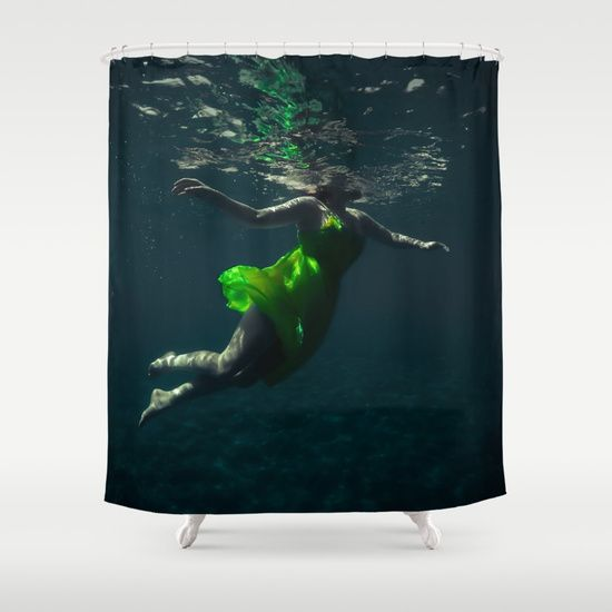 Yellow Dress. Underwater picture depicting a woman in a yellow dress dancing/ swimming in the freedom of weightlessness.  #yellow #dress #underwater #water #woman #girl #sensual #dancing #dance #dancer #reflections #homedecor #shower #curtains