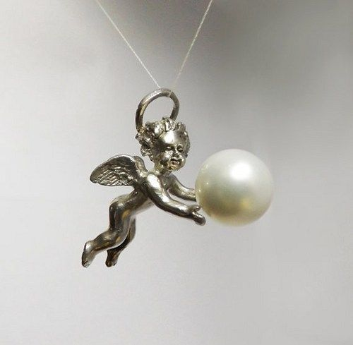 ANGEL. Pendant, Sterling Silver, Baroque, Wearable Art, Majorica Pearl