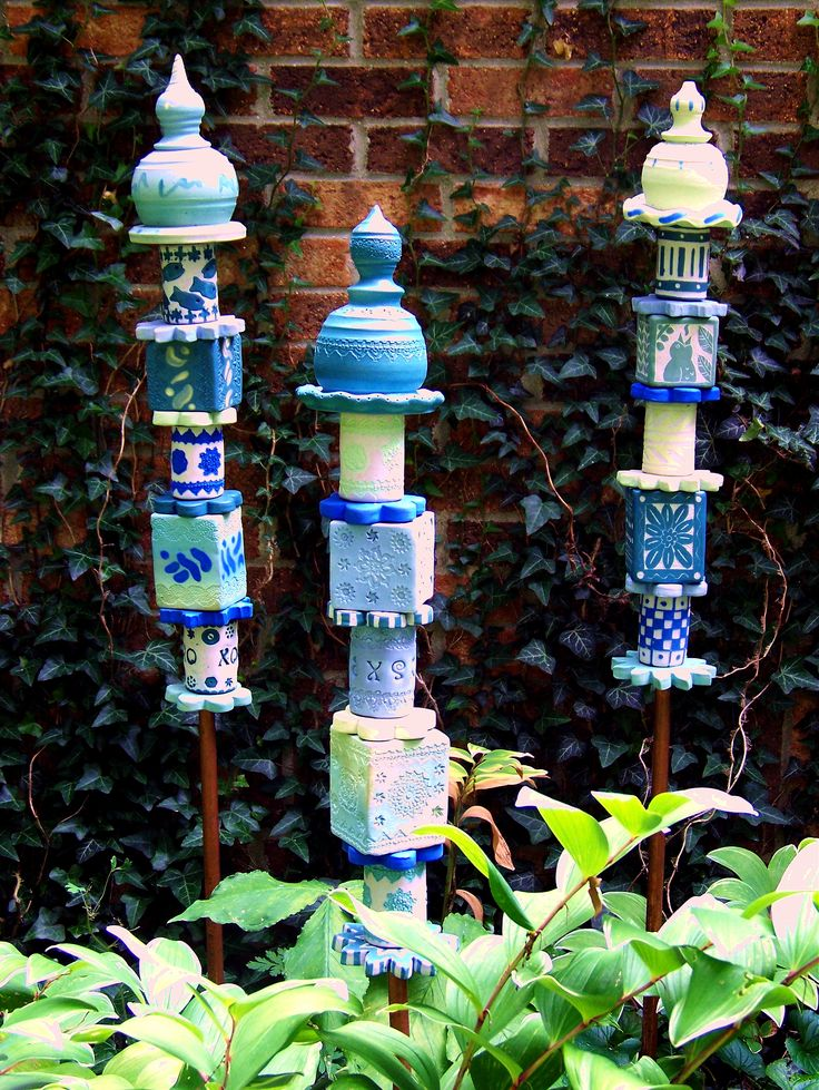 my garden totem stakes-porcelain with lowfire underglazes-by jackie stasevich