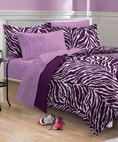 Look at this #zulilyfind! Zebra Purple Comforter Set #zulilyfinds