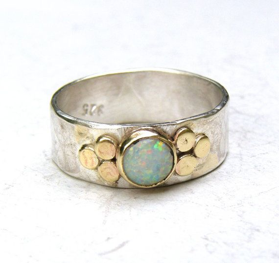 White opal Gemestone Engagement Ring - 14k gold ring silver ring Opal  ring, MADE TO ORDER