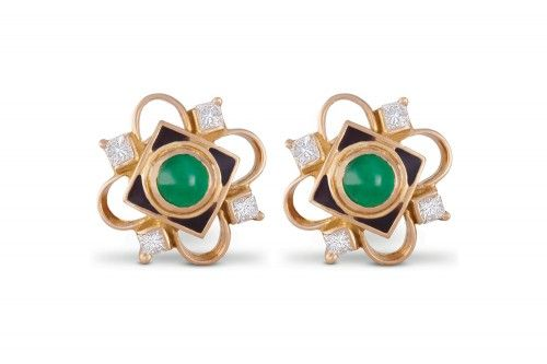 Aruni Emerald and Diamond Ear Stud