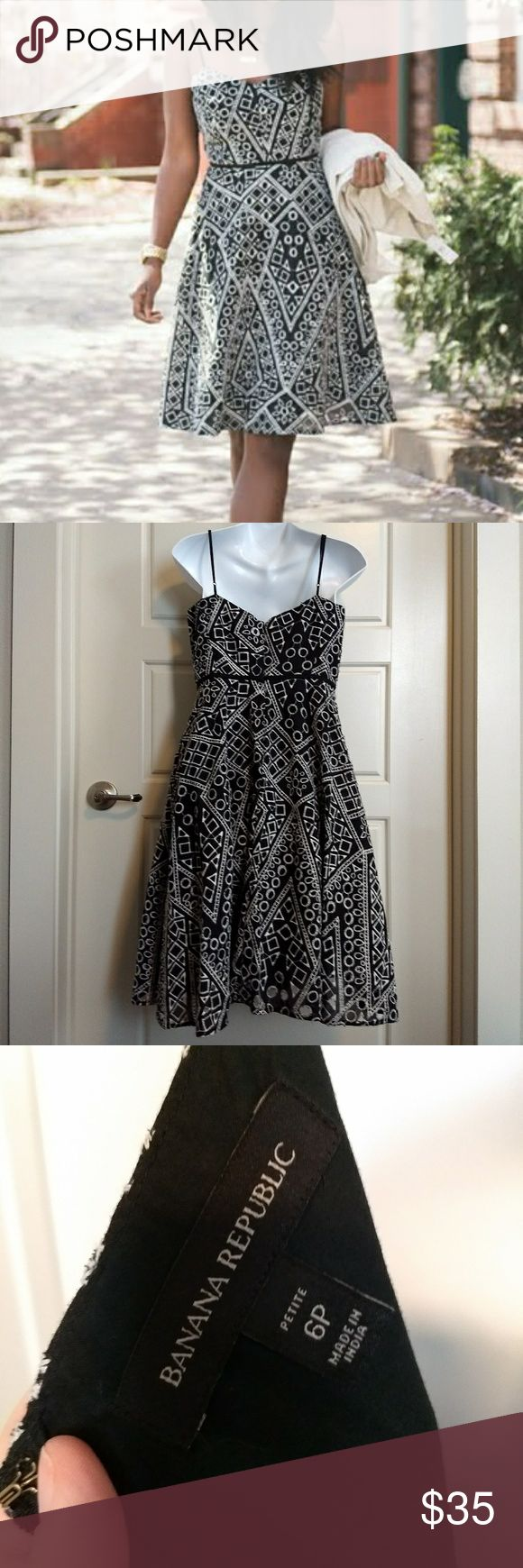 Banana Republic Geometric Pattern Petite Dress Gorgeous geometric patterned fabric with styled like cutouts. Beautiful black and white. Nicely lined with adjustable straps for the right fit. Flares out to compliment any body style. From smoke free home. Banana Republic Dresses
