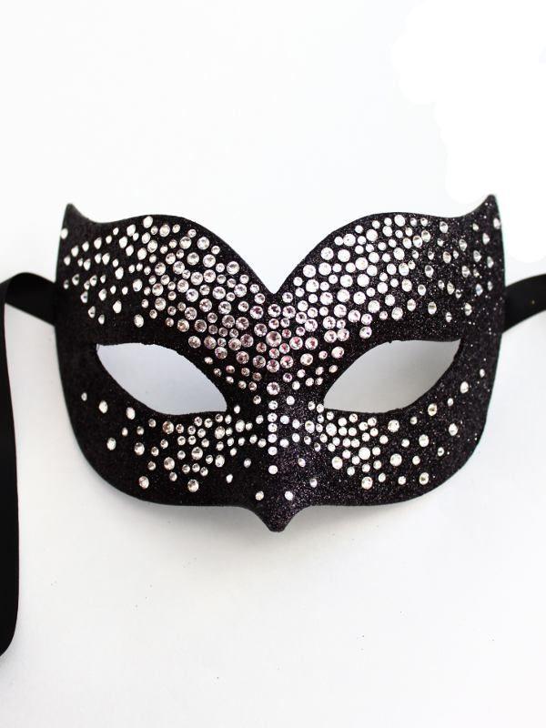 Luxury Silver & Black Swarovski Crystal Bird Venetian Masquerade Mask