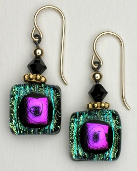 .DeVeer Geometric Rainbow Fused Glass Earrings. *Bead and wire. Come see our huge, sparkly, iridescent, selection today, and pick up a few pairs for $19.95 each! -Quirks of Art, Williamsburg, VA. *Buy Handmade!
