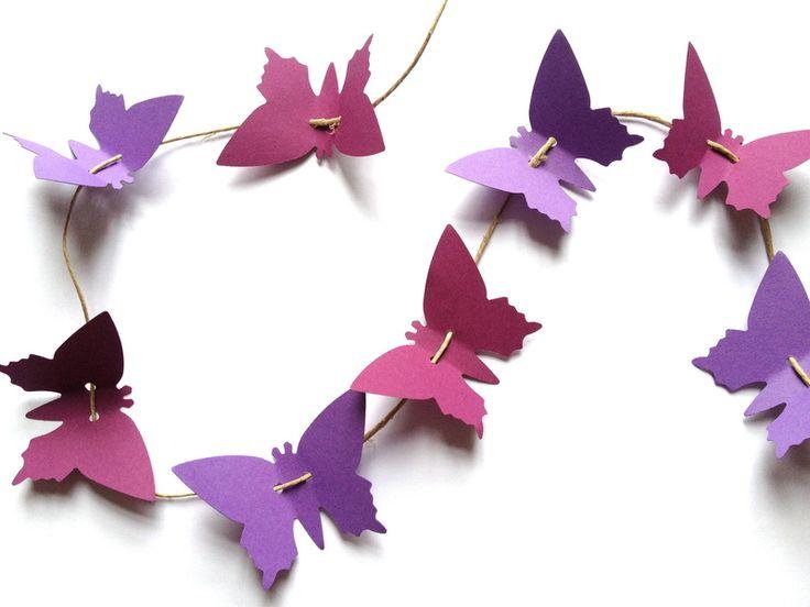 """Hochzeitsgirlanden - Schmetterlings-Girlande """"Lilla"""" 120 cm - ein Designerstück von Engelstanz bei DaWanda"""