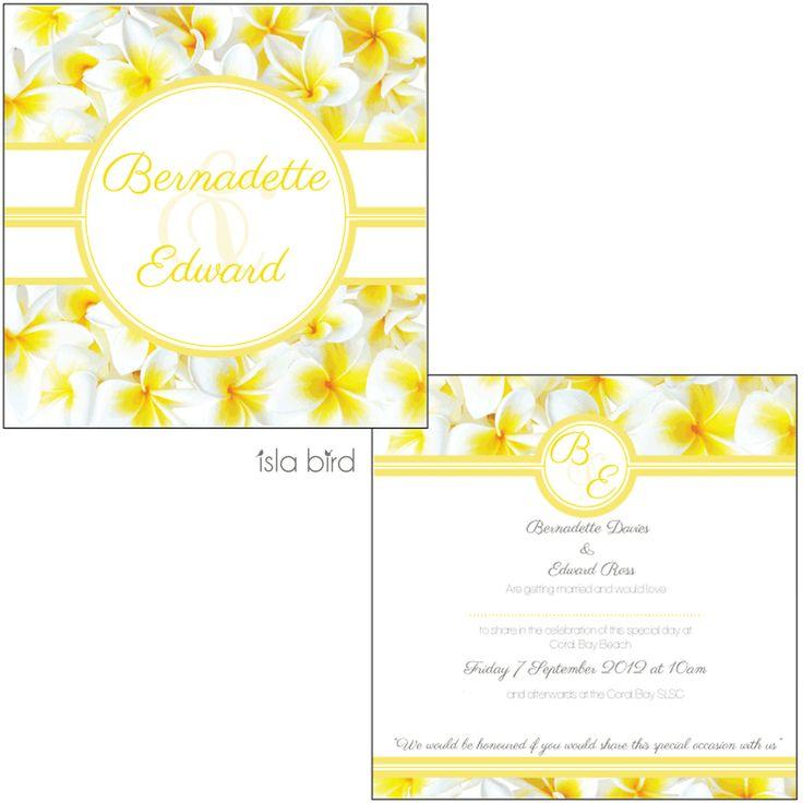 isla bird  - Fresh Frangipanis Wedding Invitation in yellow (http://www.islabird.com/fresh-frangipanis-wedding-invitation/)