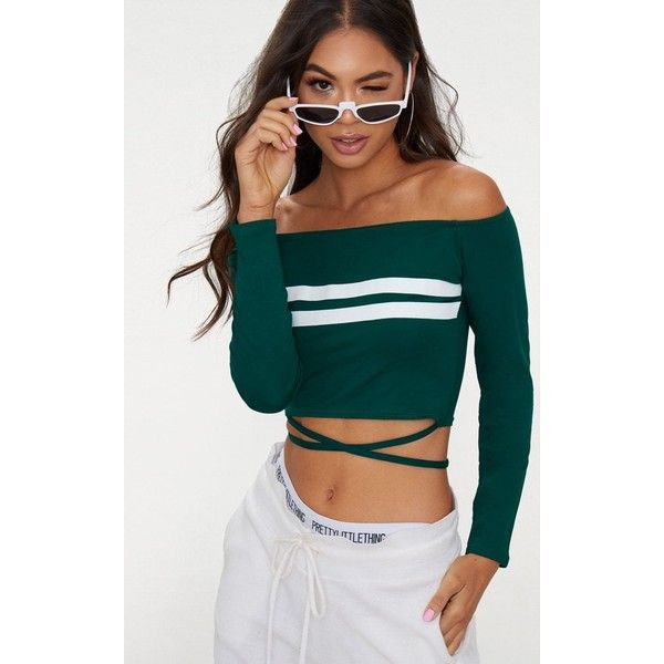 Emerald Green Bardot Stripe Harness Detail Crop Top (54 PEN) ❤ liked on Polyvore featuring tops, emerald green, striped top, emerald green tops, stripe top, harness crop top and crop tops