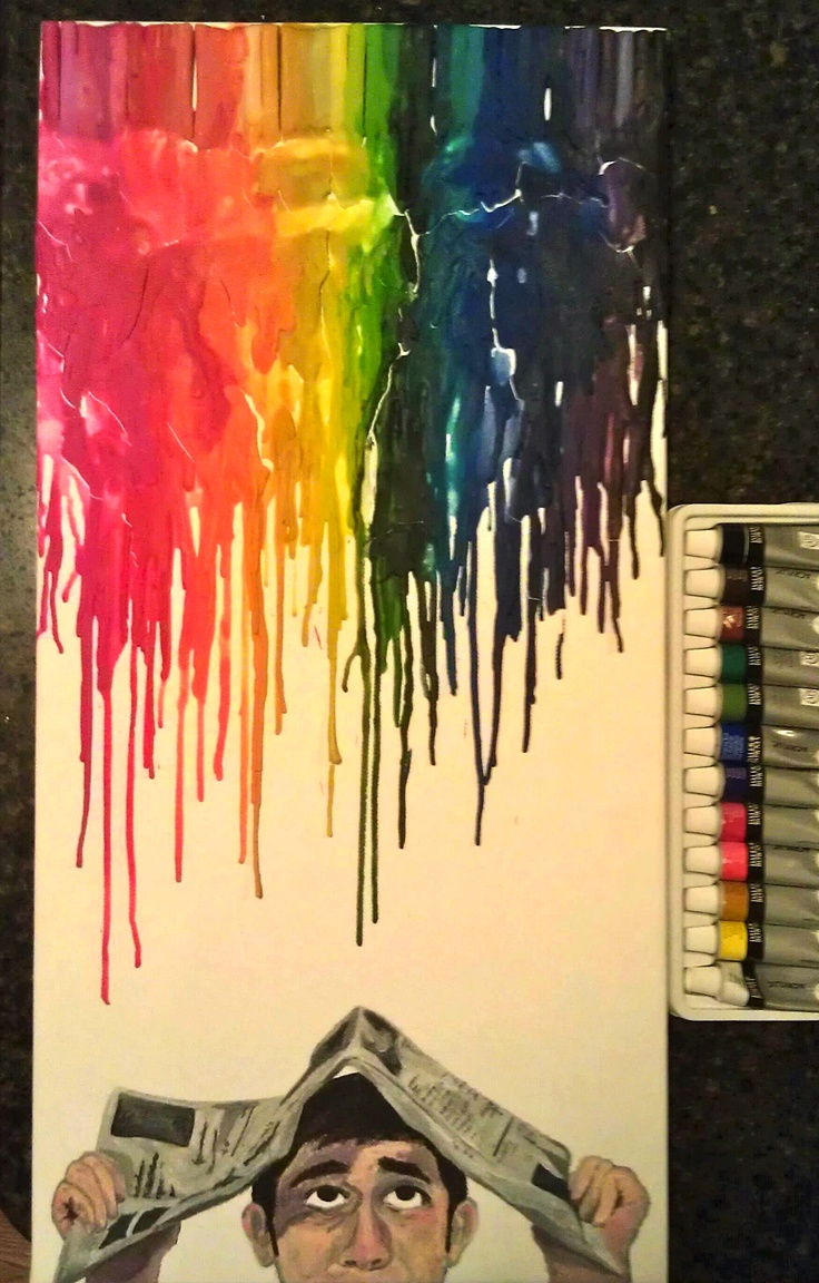 First attempt at melted crayon art! Melted crayons and acrylic paint on canvas.