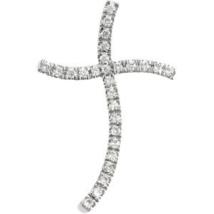14k White Gold Diamond Cross Pendant (HI Color, « Dress Adds Everyday