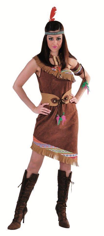Indiaanse jurk schoudervrij Prachtige suedine jurk met franjes. Jurk, riem en armband met veertjes.