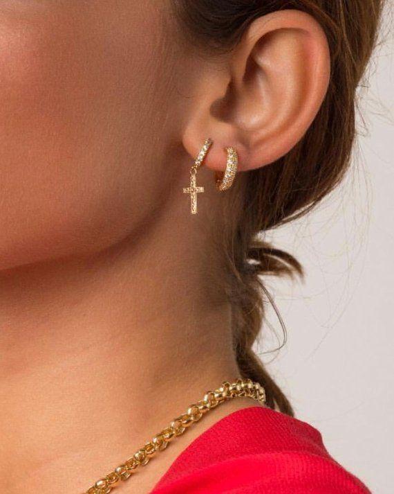 f2af800a7 Pave Cross Huggies, Gold Earrings, Huggies with Diamonds, Cross Dangle  Earrings, Huggie Hoop Earring