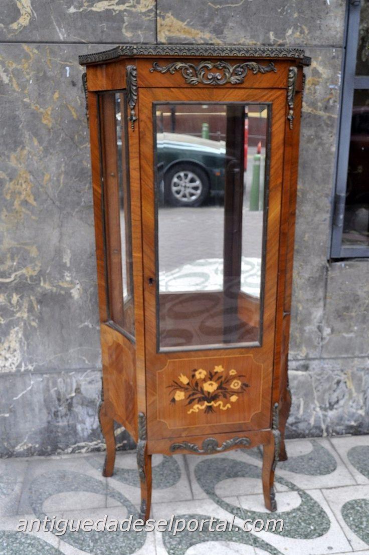 Vitrina de madera enchapada con apliques de bronce furniture muebles - Apliques de bronce para muebles ...