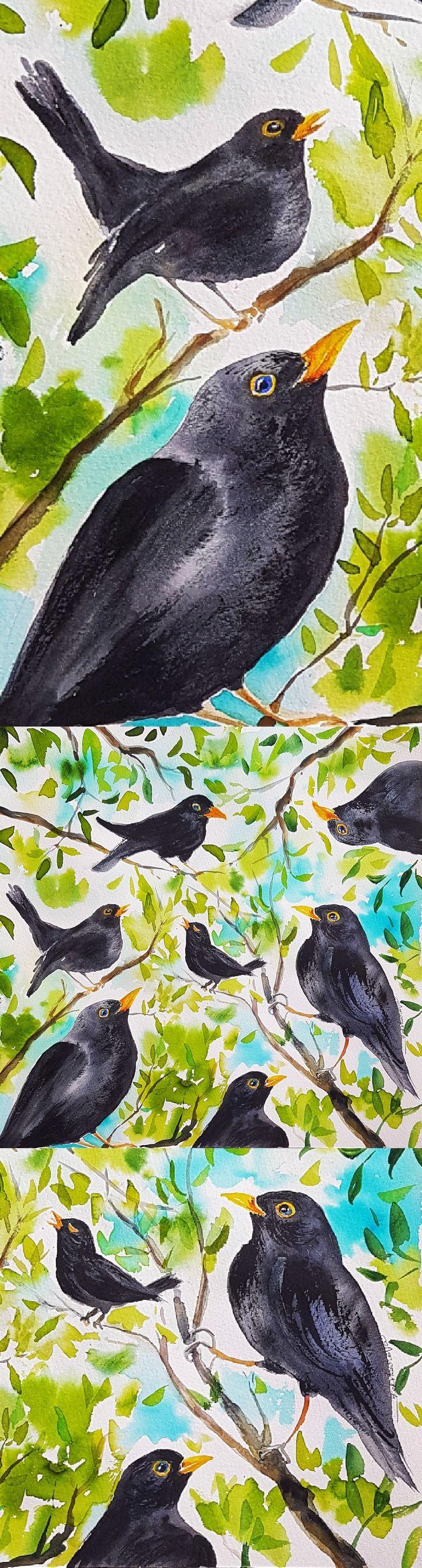 Blackbirds' song original watercolor painting 30*30cm ooak gift idea #ooak #gift #art #painting #homedecor #blackbird