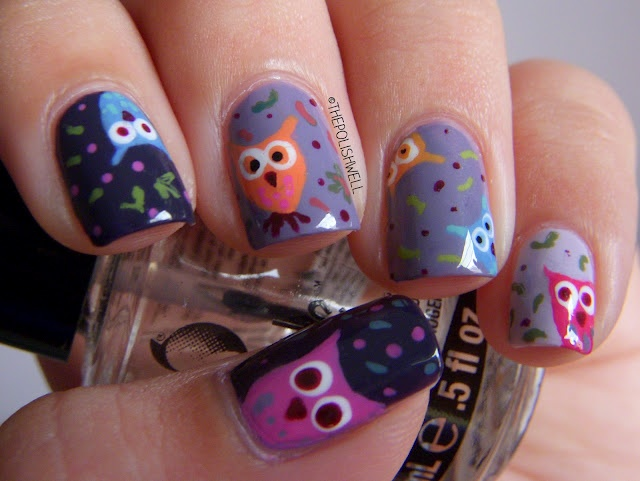 nails   Fall-themed owls for Love. Varnish, chocolate and more...