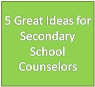 5 Great Ideas for Secondary School Counselors ALSO...click on the links for books by subject. It goes to a site to choose chapter books, etc. for group work. | The Counseling Office