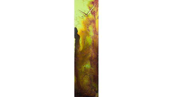 Green Wall Clock Glass wall art Suncatcher by ReformationsGlassArt