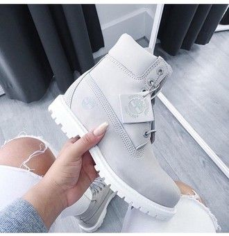 shoes timberlands timberland boots grey six inch white