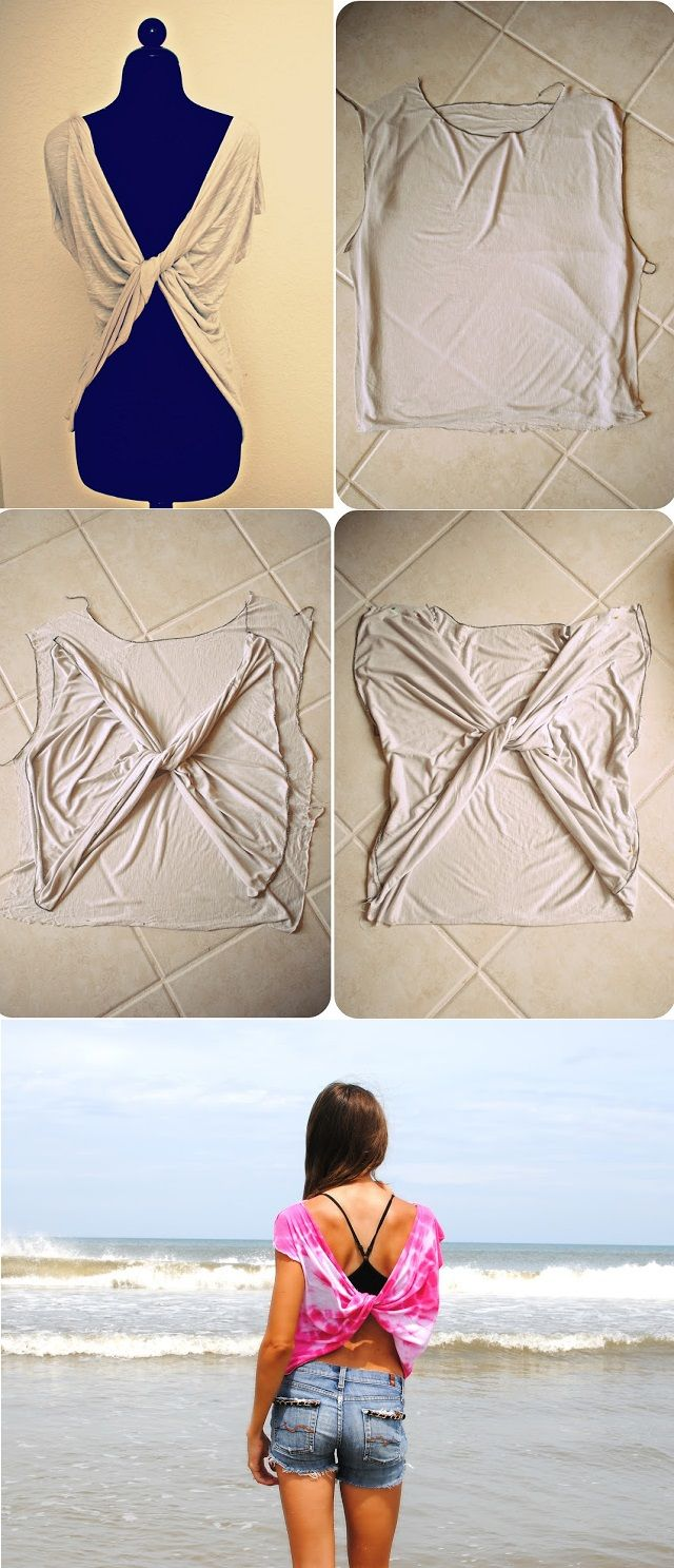 Love this as an easy bathing suit cover up! Butterfly Twist-Back Tee T-shirt – DIY