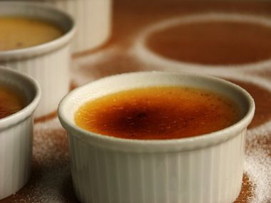 "CREME BRULEE: ""Crème Brule is a French term for what the English refer to as """"burnt cream"""". The word """"Brule"""" refers to creamy rich custards finished with a sugared glaze. Delightful!"""