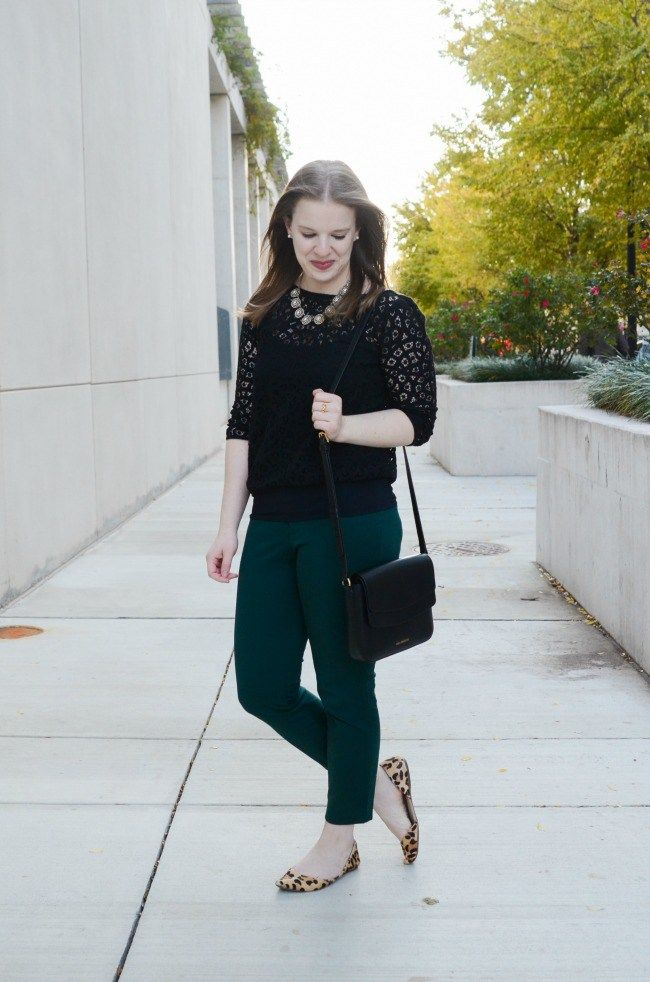 The Office Holiday Party Outfit   Something Good, women, fashion, clothing, clothes, style, holiday, christmas party, office party, holiday party, green pants., ankle pants, work outfit, work appropriate, lace top, black lace, leopard print flats, leopard d'orsay shoes, black crossbody bag, old navy pixie pants, j.crew factory necklace, pixie pants
