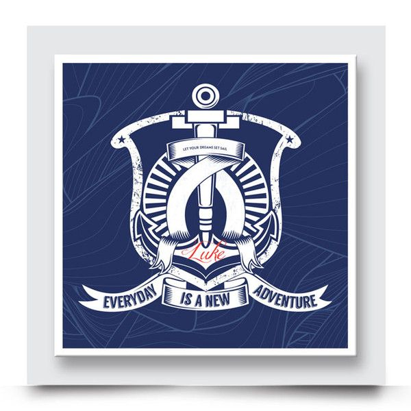 THE BLUE ANCHOR wall art comes printed on stretched canvas or box framed & can live on its own, or compliment the other nautical artwork in this collection. Bold anchor emblem artwork for a boys' nursery, bedroom or playroom. Personalise & order your art print from http://www.madicleo.com/collections/wall-art-for-boys-rooms