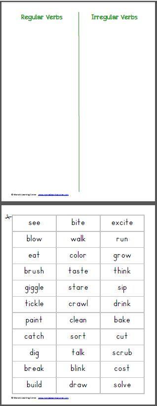 Free printable to practice identifying the past tense of regular and irregular verbs. #Freebie #GrammarWork #IrregularVerbs