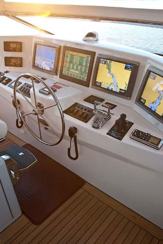 Hatteras 80 Motor Yacht: We like the four screens at the helm on the flying bridge as each screen can display a different aspect of navigation -- chartplotter, radar, depth sounder and infrared.