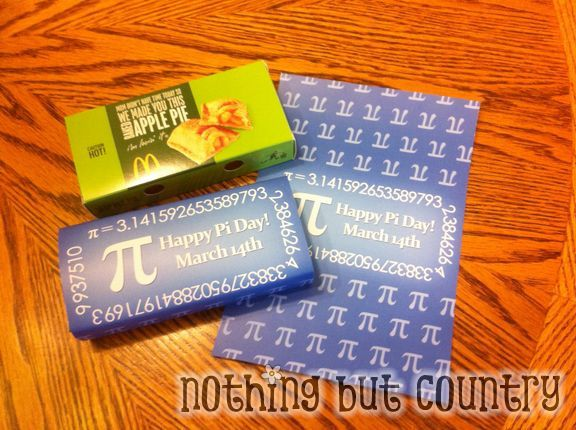 March 14th - Pi day -- using a mcdonald apple pie and a Pi day wrapper-- free printable