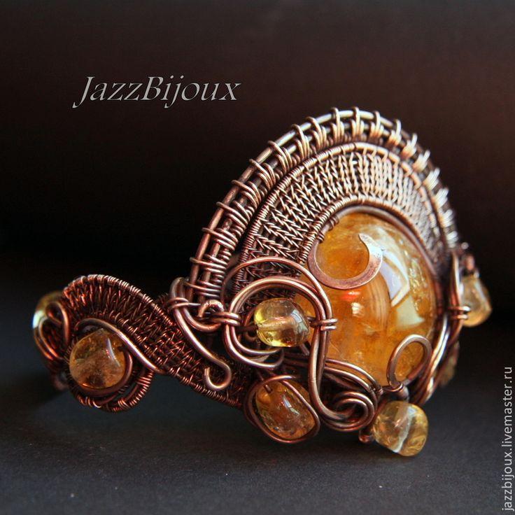 «Le Soleil» Медный браслет с цитрином - браслет,плетеный браслет,подарок девушке