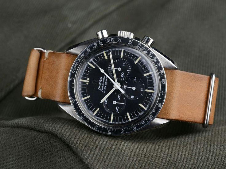 Speedmaster professional on brown leather NATO strap