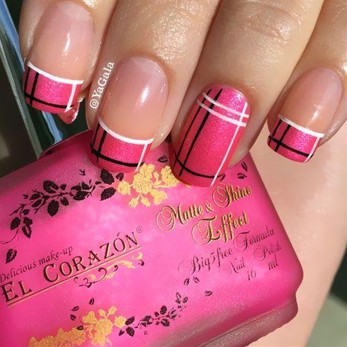 uñas fucsia- rosa francés lineas