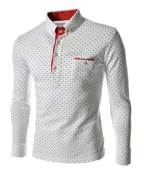 British Style Turn-dwon Collar One Pocket Polka Dot Print Long Sleeves Polyester Polo Shirt For Men #jewelry, #women, #men, #hats, #watches, #belts, #fashion