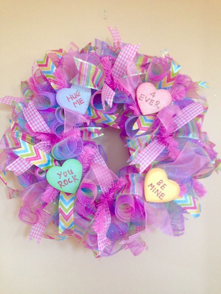 Valentine's Day Conversation Heart wreath in Pastel colors! Find more or place your custom order at www.facebook.com/saucywreaths or www.etsy.com/shop/saucywreath