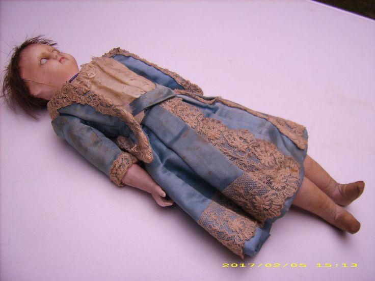 Puppe vor 1890 mit Wachs-Kopf und Porzellan-Armen antik Wachspuppe unrestauriert  | eBay