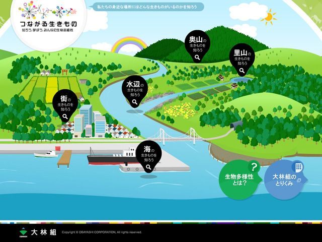 つながる生きもののWebデザイン http://www.obayashi.co.jp/eco/biodiversity/