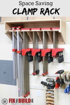 Make this Space Saving Parallel Clamp Storage Rack for your shop. This design will save tons of wall space and keep your clamps nice and tidy!